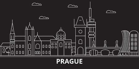 Prague city silhouette skyline. Czech Republic - Prague city vector city, czech linear architecture, buildings. Prague city line travel illustration, landmarks. Czech Republic flat icon, czech outline design banner