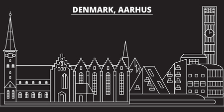 Aarhus silhouette skyline. Denmark - Aarhus vector city, danish linear architecture, buildings. Aarhus line travel illustration, landmarks. Denmark flat icon, danish outline design banner