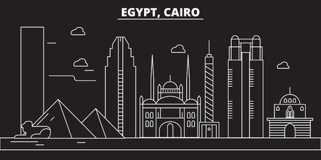 Cairo silhouette, skyline. Egypt - Cairo vector city, egyptian linear architecture, buildings. Cairo line travel illustration, landmarks. Egypt flat icon, egyptian outline design banner