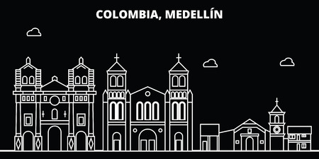 Medellin silhouette, skyline. Colombia - Medellin vector city, colombian linear architecture, buildings. Medellin line travel illustration, landmarks. Colombia flat icon, colombian outline design