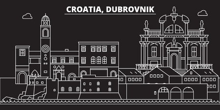 Dubrovnik silhouette skyline. Croatia - Dubrovnik vector city, croatian linear architecture, buildings. Dubrovnik line travel illustration, landmarks. Croatia flat icon, croatian outline design banner Ilustração