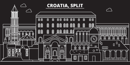 Split silhouette skyline. Croatia - Split vector city, croatian linear architecture, buildings. Split line travel illustration, landmarks. Croatia flat icon, croatian outline design banner