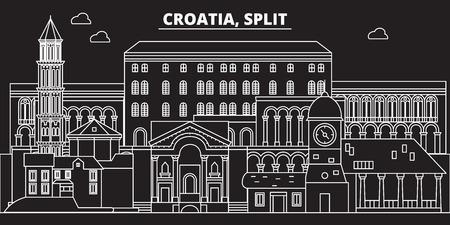 Split silhouette skyline. Croatia - Split vector city, croatian linear architecture, buildings. Split line travel illustration, landmarks. Croatia flat icon, croatian outline design banner