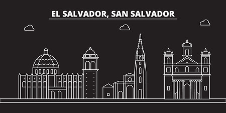 San Salvador silhouette skyline. El Salvador vector city, salvadoran linear architecture, travel illustration, outline landmark icon salvadoran line, banner