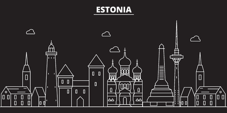 Estonia silhouette skyline. Estonia vector city, estonian linear architecture, buildingline travel illustration, landmarkflat icon, estonian outline design, banner