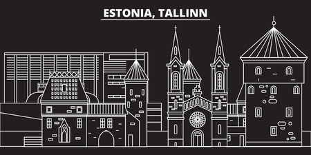 Tallinn silhouette skyline. Estonia - Tallinn vector city, estonian linear architecture, buildings. Tallinn line travel illustration, landmarks. Estonia flat icon, estonian outline design banner