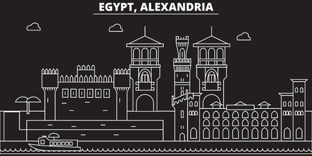 Alexandria silhouette skyline. Egypt - Alexandria vector city, egyptian linear architecture, buildings. Alexandria travel illustration, outline landmarks. Egypt flat icon, egyptian line design banner