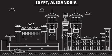 Alexandria silhouette skyline. Egypt - Alexandria vector city, egyptian linear architecture, buildings. Alexandria travel illustration, outline landmarks. Egypt flat icon, egyptian line design banner