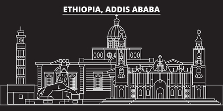 Addis ababa silhouette skyline. Ethiopia - Addis ababa vector city, ethiopian linear architecture, buildings. Addis ababa line travel illustration, landmarks. Ethiopia flat icon, ethiopian outline design banner