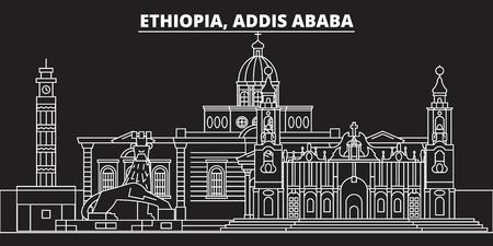 Addis ababa silhouette skyline. Ethiopia - Addis ababa vector city, ethiopian linear architecture, buildings. Addis ababa line travel illustration, landmarks. Ethiopia flat icon, ethiopian outline design banner