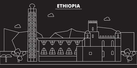 Ethiopia silhouette skyline. Ethiopia vector city, ethiopian linear architecture, buildingtravel illustration, outline landmark icon ethiopian line banner