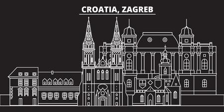 Skyline der Zagreber Silhouette. Kroatien - Zagreber Vektorstadt, kroatische lineare Architektur, Gebäude. Zagreber Reiseillustration, Umrissmarksteine. Flache Ikone Kroatiens, kroatisches Linienentwurfsbanner