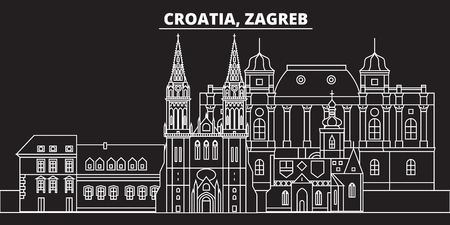 Zagreb silhouette skyline. Croatia - Zagreb vector city, croatian linear architecture, buildings. Zagreb travel illustration, outline landmarks. Croatia flat icon, croatian line design banner