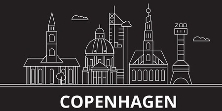 Copenhagen city silhouette skyline. Denmark - Copenhagen city vector city, danish linear architecture, buildings. Copenhagen city line travel illustration, landmarks. Denmark flat icon, danish outline design banner