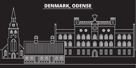 Odense silhouette skyline. Denmark - Odense vector city, danish linear architecture, buildings. Odense line travel illustration, landmarks. Denmark flat icon, danish outline design banner