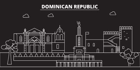 Dominican Republic silhouette skyline. Dominican Republic vector city, dominican linear architecture, buildingline travel illustration, landmarkflat icon, dominican outline design, banner Çizim