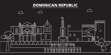 Dominican Republic silhouette skyline. Dominican Republic vector city, dominican linear architecture, buildingline travel illustration, landmarkflat icon, dominican outline design, banner Illustration