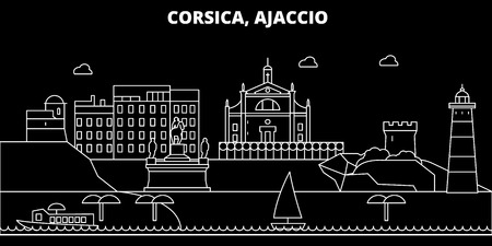 Ajaccio silhouette skyline. France - Ajaccio vector city, french linear architecture, buildings. Ajaccio line travel illustration, landmarks. France flat icon, french outline design banner