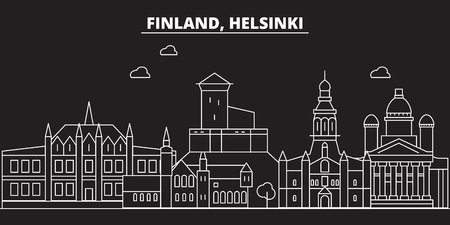 Helsinki silhouette skyline. Finland - Helsinki vector city, finnish linear architecture, buildings. Helsinki line travel illustration, landmarks. Finland flat icon, finnish outline design banner Çizim