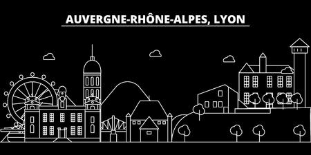 Lyon silhouette skyline. France - Lyon vector city, french linear architecture, buildings. Lyon line travel illustration, landmarks. France flat icon, french outline design banner Illustration