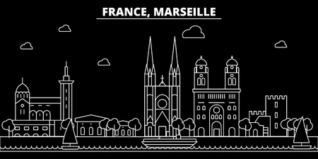Marseille silhouette skyline. France - Marseille vector city, french linear architecture, buildings. Marseille line travel illustration, landmarks. France flat icon, french outline design banner