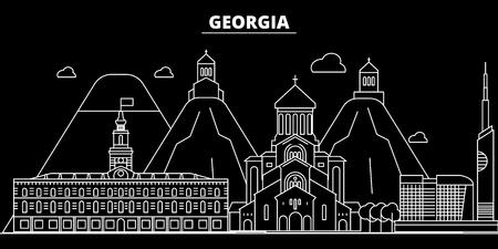 Georgia silhouette skyline. Georgia vector, city, georgian linear architecture, buildingtravel illustration, outline landmarkflat icon, georgian line banner