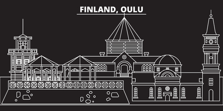 Oulu silhouette skyline. Finland - Oulu vector city, finnish linear architecture, buildings. Oulu line travel illustration, landmarks. Finland flat icon, finnish outline design banner 일러스트