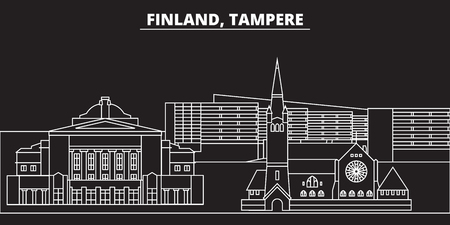 Tampere silhouette skyline. Finland - Tampere vector city, finnish linear architecture, buildings. Tampere line travel illustration, landmarks. Finland flat icon, finnish outline design banner