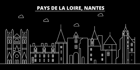 Nantes silhouette skyline. France - Nantes vector city, french linear architecture, buildings. Nantes line travel illustration, landmarks. France flat icon, french outline design banner