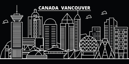 Vancouver city silhouette skyline. Canada - Vancouver city vector city, canadian linear architecture, buildings. Vancouver city line travel illustration, landmarks. Canada flat icon, canadian outline design banner