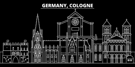 Cologne silhouette skyline. Germany - Cologne vector city, german linear architecture, buildings. Cologne line travel illustration, landmarks. Germany flat icon, german outline design banner