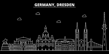 Dresden silhouette skyline. Germany - Dresden vector city, german linear architecture, buildings. Dresden line travel illustration, landmarks. Germany flat icon, german outline design banner