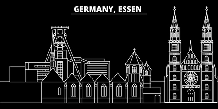 Essen silhouette skyline. Germany - Essen vector city, german linear architecture, buildings. Essen line travel illustration, landmarks. Germany flat icon, german outline design banner