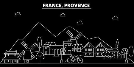 Provence silhouette skyline. France - Provence vector city, french linear architecture, buildings. Provence line travel illustration, landmarks. France flat icon, french outline design banner