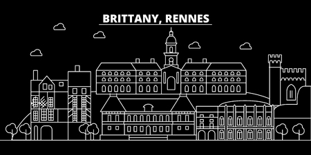Rennes silhouette skyline. France - Rennes vector city, french linear architecture, buildings. Rennes line travel illustration, landmarks. France flat icon, french outline design banner