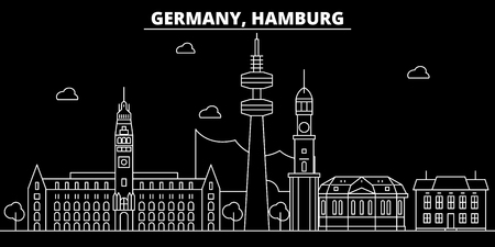 Hamburg silhouette skyline. Germany - Hamburg vector city, german linear architecture, buildings. Hamburg line travel illustration, landmarks. Germany flat icon, german outline design banner Illustration