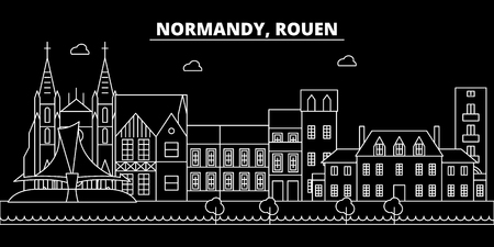 Rouen silhouette skyline. France - Rouen vector city, french linear architecture, buildings. Rouen line travel illustration, landmarks. France flat icon, french outline design banner