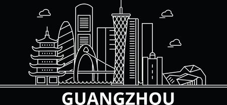 Guangzhou silhouette skyline. China - Guangzhou vector city, chinese linear architecture, buildings. Guangzhou line travel illustration, landmarks. China flat icon, chinese outline design banner