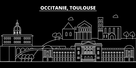 Toulouse silhouette skyline. France - Toulouse vector city, french linear architecture, buildings. Toulouse line travel illustration, landmarks. France flat icon, french outline design banner
