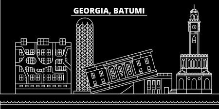 Batumi silhouette skyline. Georgia - Batumi vector city, georgian linear architecture, buildings. Batumi line travel illustration, landmarks. Georgia flat icon, georgian outline design banner