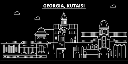 Kutaisi silhouette skyline. Georgia - Kutaisi vector city, georgian linear architecture, buildings. Kutaisi line travel illustration, landmarks. Georgia flat icon, georgian outline design banner