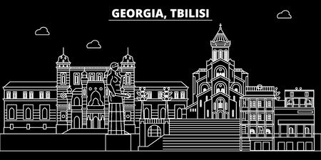 Tbilisi silhouette skyline. Georgia - Tbilisi vector city, georgian linear architecture, buildings. Tbilisi line travel illustration, landmarks. Georgia flat icon, georgian outline design banner