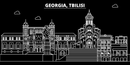 Tbilisi silhouette skyline. Georgia - Tbilisi vector city, georgian linear architecture, buildings. Tbilisi line travel illustration, landmarks. Georgia flat icon, georgian outline design banner