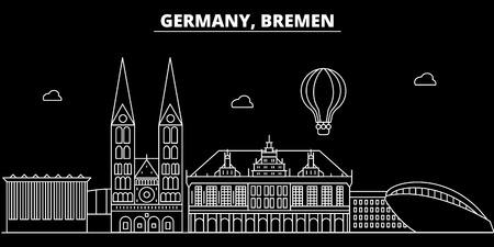 Bremen silhouette skyline. Germany - Bremen vector city, german linear architecture, buildings. Bremen line travel illustration, landmarks. Germany flat icon, german outline design banner