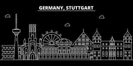 Stuttgart silhouette skyline. Germany - Stuttgart vector city, german linear architecture, buildings. Stuttgart line travel illustration, landmarks. Germany flat icon, german outline design banner