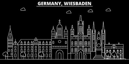 Wiesbaden silhouette skyline. Germany - Wiesbaden vector city, german linear architecture, buildings. Wiesbaden travel illustration, outline landmarks. Germany flat icon, german line design banner