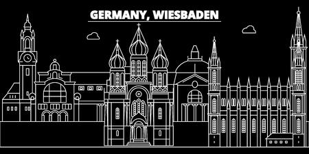Wiesbaden silhouette skyline. Germany - Wiesbaden vector city, german linear architecture, buildings. Wiesbaden line travel illustration, landmarks. Germany flat icon, german outline design banner Illustration