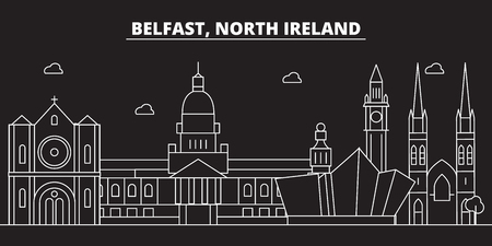 Belfast silhouette skyline. Great Britain - Belfast vector city, british linear architecture, buildings. Belfast line travel illustration, landmarks. Great Britain flat icon, british outline design banner Иллюстрация