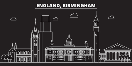 Birmingham silhouette skyline. Great Britain - Birmingham vector city, british linear architecture, buildings. Birmingham line travel illustration, landmarks. Great Britain flat icon, british outline design banner