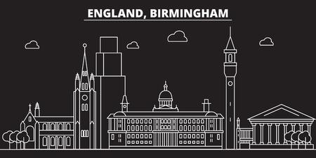 Birmingham silhouette skyline. Great Britain - Birmingham vector city, british linear architecture, buildings. Birmingham line travel illustration, landmarks. Great Britain flat icon, british outline design banner